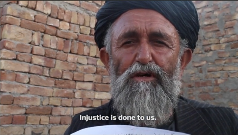 First video-recorded interview of wounded Panjwai Massacre survivor Haji Mohammad Naim of Alkozai, with his nephew Abdul Baqi and victims Samiullah and Haji Baran, filmed in Zangabad June 5, 2013 by Afghan reporter Mamoon Durrani