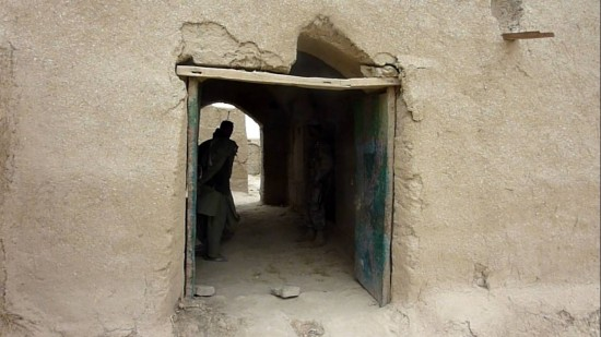 Photograph of the main gate doors fronting on Najiban street where 60-year-old mother of Mohammad Wazir was killed on 3/11/2012