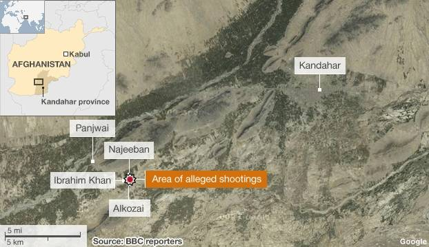 Inaccurate March 12, 2012 BBC map of Panjwai district villages, Kandahar province, Afghanistan (the village locations are reversed and the massacre area is placed more than five miles EAST of its actual location)