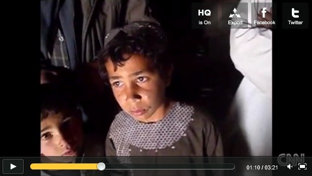 Screen capture of two Panjwai boys who witnessed the March 11 attacks, as aired by CNN International on March 19, 2012