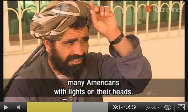 Screen-captured SBS-TV image of Baran Akhon, the brother of Mohammad Dawood. Mohammad Dawood was murdered in Balandi/Najiban village, Panjwai district, Kandahar province, Afghanistan, on the night of March 11, 2012