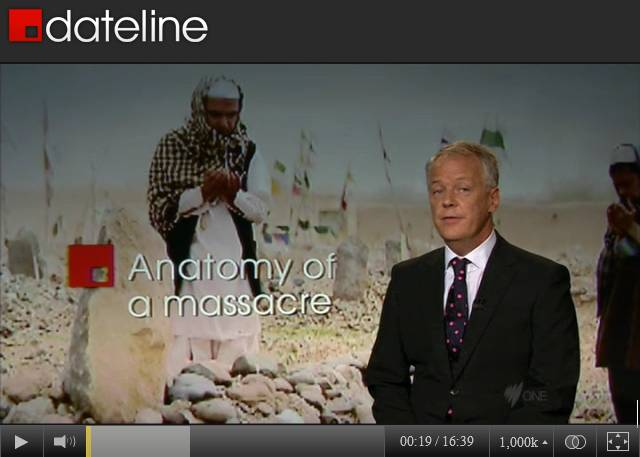 "Screen capture of 3/27/2012 SBS-TV broadcast of ""Anatomy of a Massacre"" with Panjwai graves in the background"
