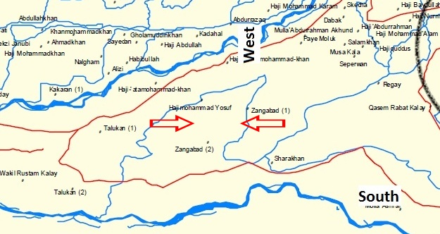 A corrected, December, 2012 version of a Panjwai Massacre investigation map that now marks with two red arrows the accurate location of the massacre in the Horn of Panjwai or Zangabad area of Kandahar province, Afghanistan