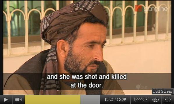 Image of Mohammad Wazir of Balandi/Najiban, Panjwai district, Afghanistan, who lost 11 family members on 3/11/2012, speaking with Yalda Hakim of SBS-TV in late March, 2012