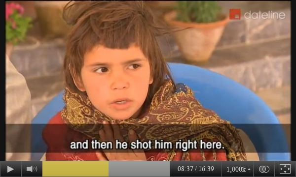 Screen-captured image of 8-year-old Noorbinak - from Panjwai district, Kandahar province, southeastern Afghanistan - describing what she witnessed the night of March 11, 2012, when her father was murdered in front of her, to Australian SBS-TV reporter Yalda Hakim